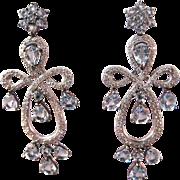 Vintage Estate Aquamarine Diamond Chandelier Earrings 18K