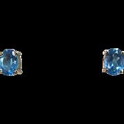 Vintage Estate Blue Topaz Wedding Birthstone Earrings 14K Yellow Gold