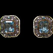Vintage Estate Blue Topaz & Akoya Cultured Pearl Birthstone Anniversary Earrings 18K Yellow & White Gold