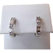 Vintage Estate Wedding Birthstone Anniversary Diamond Hoop Earrings 14K White Gold