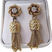 Vintage Estate 1950's Diamond Dangle Wedding Birthstone Anniversary Earrings 14K Yellow Gold