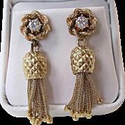 Magnificent Diamond Dangle Vintage Earrings 14K