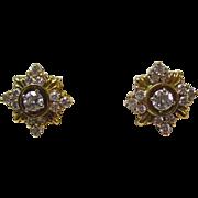 Vintage Estate Diamond Wedding Birthstone Anniversary Earrings 18K Yellow Gold