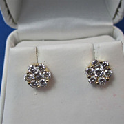 Vintage Estate Diamond Cluster Wedding Day Anniversary Birthstone Earrings 14K Yellow Gold