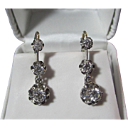 Vintage Estate 1950's Diamond Dangle Wedding Birthstone Anniversary Earrings 14K White Gold