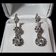 Lovely Diamond Dangle Vintage Earrings 14K
