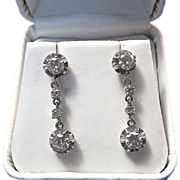 Vintage Estate Diamond Dangle Wedding Day Birthstone Anniversary Earrings Platinum