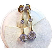 Vintage Estate 1960's Wedding Birthstone Anniversary Diamond Dangle Earrings 18K Yellow Gold
