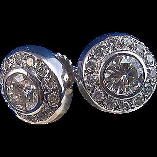 Magnificent 1.43 Diamond Halo Vintage Estate Earrings 14K
