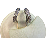 Vintage Estate Diamond Huggie-Style Hoop Wedding Birthstone Earrings 14K White gold
