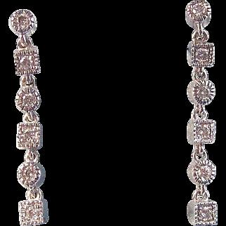 Vintage Estate Diamond Dangle Birthstone Anniversary Wedding Earrings 14K White Gold