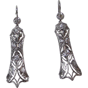 Art Deco Vintage 1920's Wedding Birthstone Anniversary VS Diamond Dangle Earrings Platinum