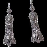 Wedding Art Deco VS Diamond Dangle Vintage Earrings Platinum