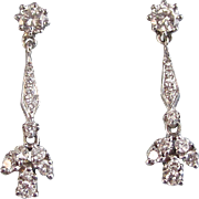 Vintage Estate 1950's Diamond Dangle Wedding Birthstone Earrings 14K White Gold