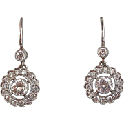 Vintage Estate Wedding Birthstone Anniversary Diamond Dangle Earrings Platinum