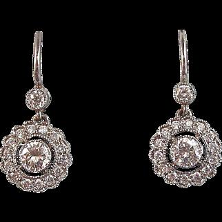 Sizzling Wedding Diamond Dangle Vintage Earrings Platinum