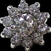 Vintage Estate Wedding Birthstone Anniversary Diamond Stud Jacket Earrings 14K White Gold