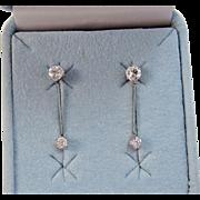 Art Deco Wedding Birthstone Dangle Diamond Earrings 14K