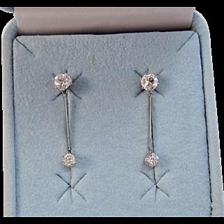 Vintage Estate Art Deco Wedding Birthstone Dangle Diamond Earrings 14K White Gold