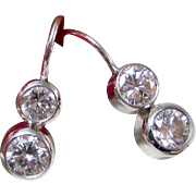 Vintage Estate Diamond Wedding Day Birthstone Anniversary Earrings 14K White Gold