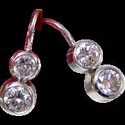 Diamond Wedding Day Birthstone Anniversary Estate Earrings 14K White Gold