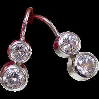 Vintage Estate Diamond Wedding Day Birthstone Anniversary Earrings 14K White Gold
