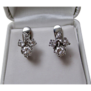 1950's Estate Wedding Day Birthstone Floral Cluster Diamond Earrings 14K