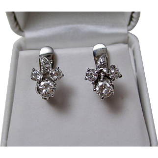 Vintage Estate 1950's Wedding Day Birthstone Floral Cluster Diamond Earrings 14K