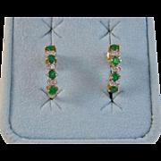 Vintage Estate Emerald & Diamond Wedding Birthstone Earrings 18K