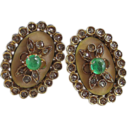 Antique Victorian 1890's Emerald Diamond Enameled Florentine Finish Wedding Day Birthstone Earrings 18K Yellow Gold