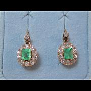 Art Deco Wedding Birthstone Anniversary Halo Dangle Emerald & Diamond Estate Earrings 14K Rose Gold