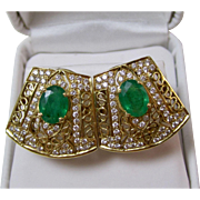Vintage Estate Emerald Diamond Wedding Day Birthstone Anniversary Earrings 18K Yellow Gold