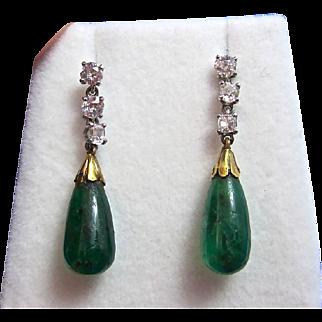 Rare Emerald & Diamond Art Deco Dangle Earrings 14K