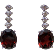 Estate Natural Almandine Garnet & Diamond Drop Wedding Day Birthstone Earrings 14K