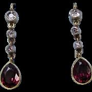 Estate Victorian Wedding Day Birthstone Almandine Garnet & Old European Cut Diamond Dangle Earrings 14K
