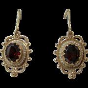 Vintage Estate Almandine Garnet & Cultured Seed Pearl Drop Dangle Wedding Day Birthstone Anniversary Earrings 14K Yellow Gold