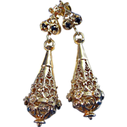 Dynamite 14K Yellow Gold & Sapphire Dangle Vintage Earrings