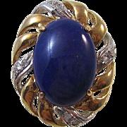Vintage Estate 1960's Lapis Lazuli Diamond Earrings 14K