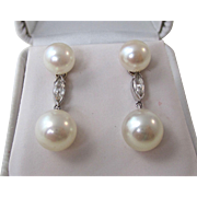 Fabulous Culture Pearl & Diamond Wedding Dangle Earrings 14K
