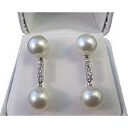 Diamond & Cultured Pearl Dangle Wedding Day Anniversary Estate Earrings 14K