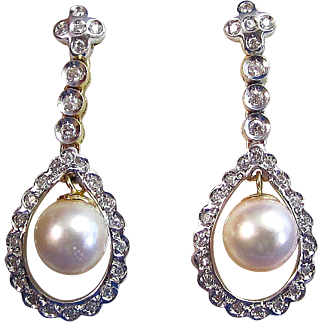 Art Deco Estate 1920's Cultured Pearl  Diamond Wedding Birthstone Dangle Earrings 18K