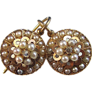 Antique Victorian 1890's Cultured Pearl  Diamond Wedding Day Birthstone Anniversary Earrings 14K Yellow Gold