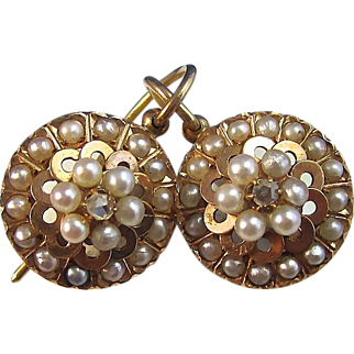 Antique Victorian 1890's Cultured Pearl & Diamond Earrings 14K