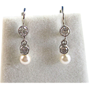 Elegant Akoya Cultured Pearl & .52 Diamond Dangle Vintage Earrings