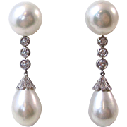 Magnificent Cultured Pearl & Diamond Vintage Wedding Earrings