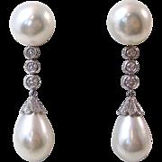 Vintage Estate 1980's Wedding Cultured Pearl & Diamond Dangle Earrings