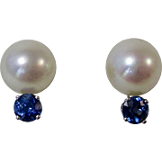 Vintage Estate Akoya Cultured Pearl & Sapphire Wedding Day Anniversary Birthstone Stud Earrings 14K White Gold