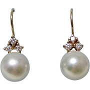Akoya Cultured Pearl & Diamond Wedding/Anniversary Earrings 14K