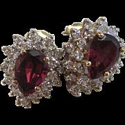 Vintage Estate Rhodolite Garnet Cluster Diamond Wedding Birthstone Earrings 14K Yellow Gold