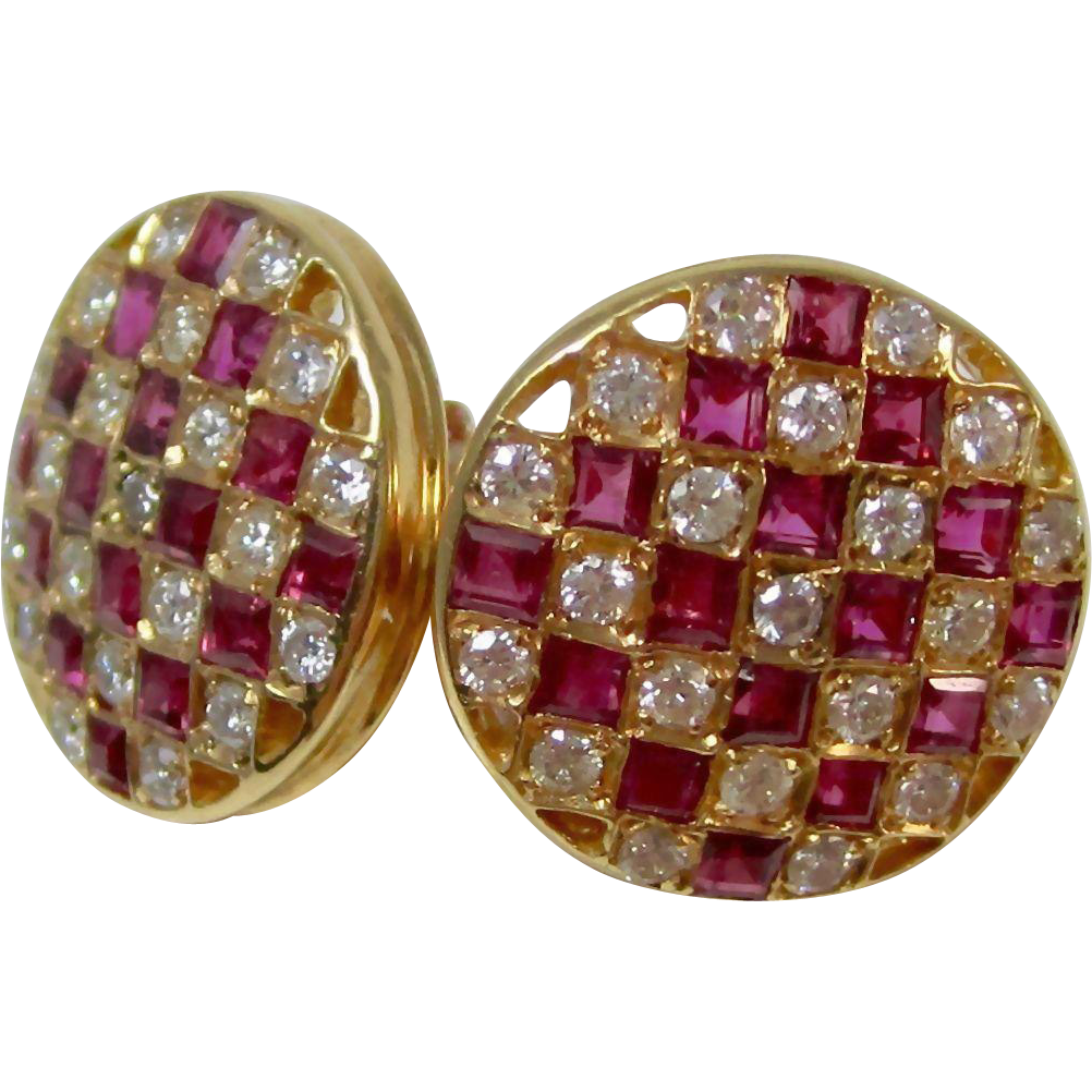 Estate Vintage Ruby & Diamond Cluster Wedding Day Birthstone Anniversary Earrings 14K Yellow Gold